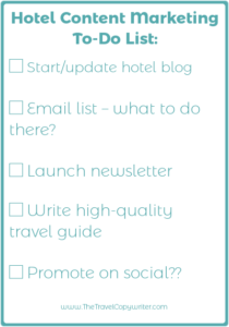 hotel content marketing checklist
