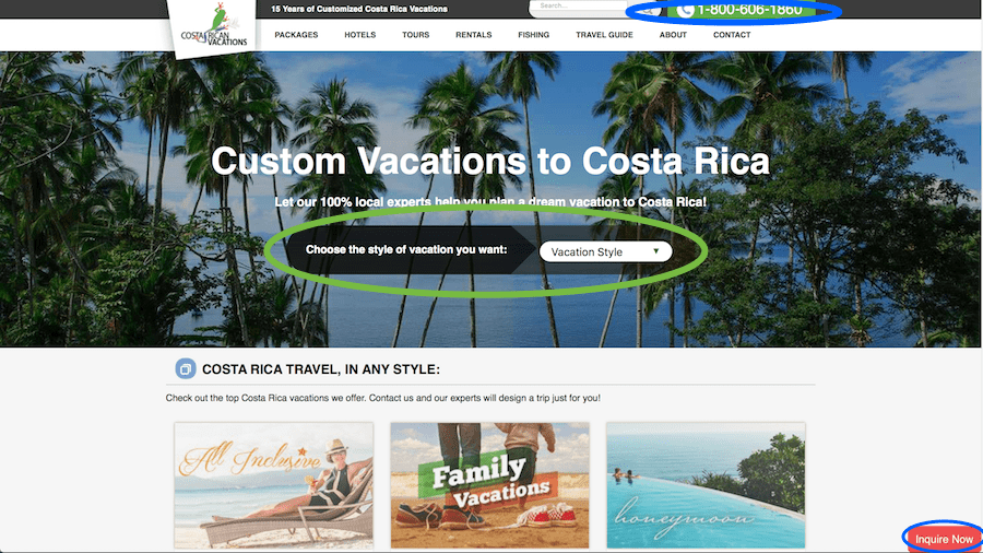 travel call-to-action for Costa Rican Vacations