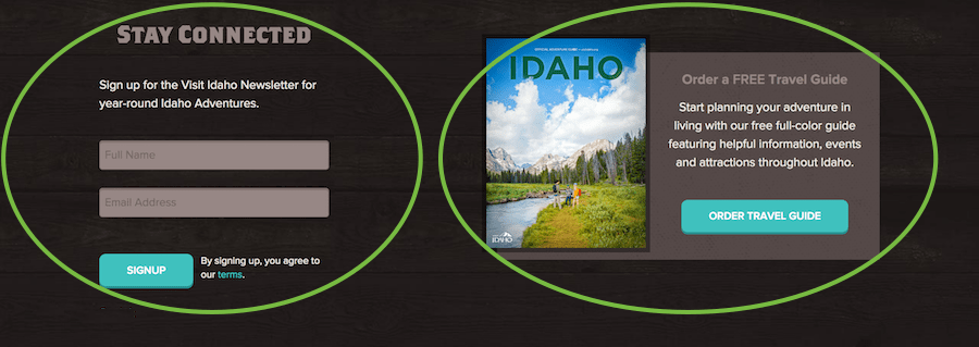 opt-in CTA for Visit Idaho