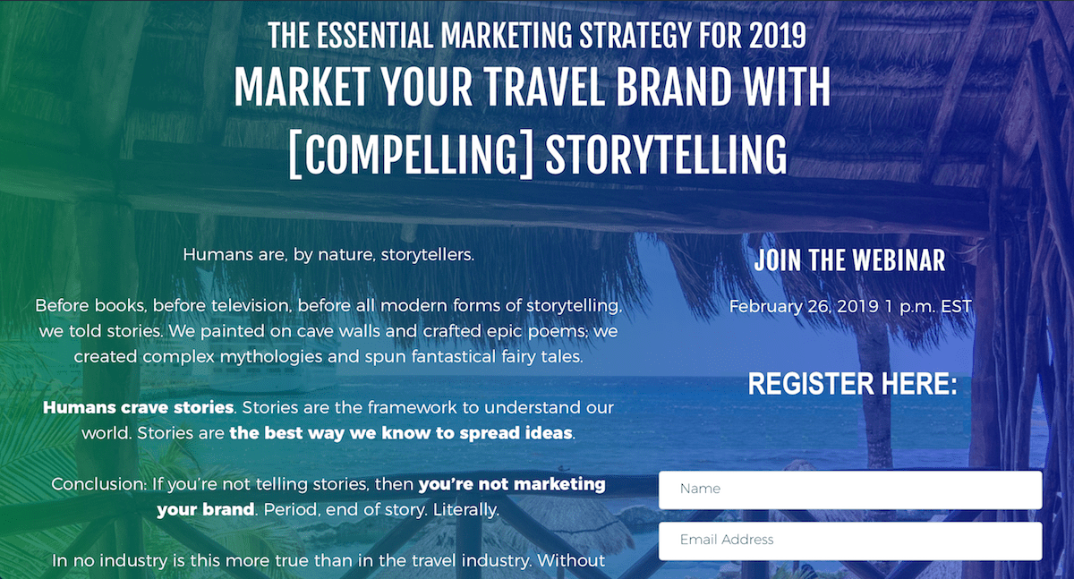 travel storytelling webinar
